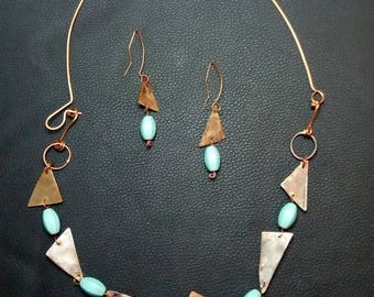 Copper earrings&necklace set with turquoise gemstones