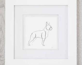 Boston Terrier Art with Frame, Boston Terrier Gift, Boston Terrier Print, Minimal Print | Boston Terrier Lovers, Wall Art, Pet Gift Ideas