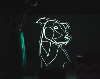 Custom Pet Portrait | Pet Gift | LED Lamp | LED Light | Custom Engraved Gift | Bespoke | Line Art | Minimal Dog Art | Personalized Pet Art