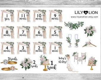 Wedding Countdown Planner Stickers - Erin Condren - Plum Paper Planner - Happy Planner - Bride