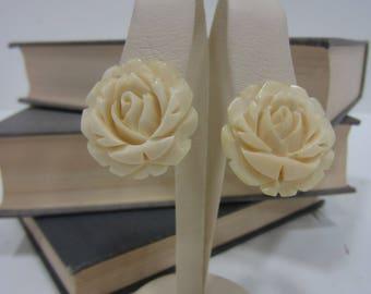 Vintage Ivory Carved Bakelite Rose Earrings Made in Japan