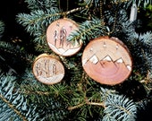 Holiday ornaments, set of 3 wood burned designs on live edge birch slices, birch and pine trees, mountains with brass chains, wintry scene