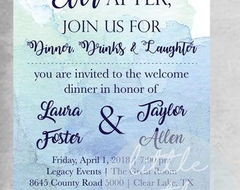 Watercolor Welcome/Rehearsal Dinner Invitation Template // Blue Watercolor // Digital Template // Printable