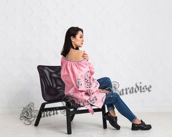 Soft Pink Robe Bohemian Linen Vyshyvanka Blouse Embroidered Top Ukraine Clothing Ethnic Embroidery Pink Blouse Flower Blouse Mexican Shirt