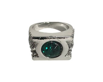 Green Lantern Power Ring Logo Costume Cosplay Superhero Movie DC Comics Justice League Fancy Dress Metal Gift Jewelry Silver Band Hi Quality