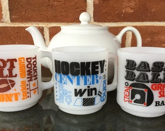 Glasbake milk glass mug 1970s Made in USA Sports themed mugs Baseball Football Ice Hockey Vintage mugs Sold individually