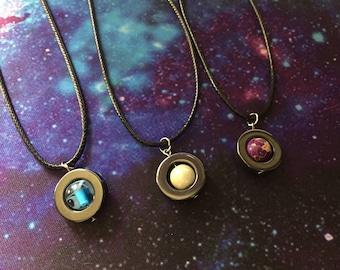 Planet Fidget Necklace / Spinning Saturn, Neptune, & Jupiter Fidget Pendants / Stim Planet Necklace / Hematite Disc