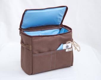 SOFT Camera Insert - DSLR Camera Case - Camera Bag Partition - Protection Case - Photo Bag Insert - JuCase Brown/Blue