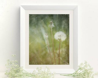 Printable pictures Vertical wall decor 8x10 Printable poster Dandelion photography Green wall decor Bedroom wall decor Picture for bedroom
