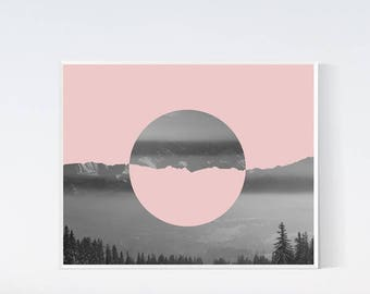 Abstract landscape Mountain photography Pink gray print Blush pink grey wall decor Nature photo PRINTABLE art Minimalist Scandinavian prints