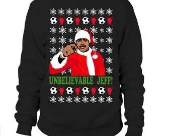 Chris Kamara Novelty Funny Unbelievable Jeff, Christmas Xmas Ugly Sweater Jumper  Free UK Shipping Cheap US Shipping