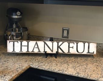 "Thankful sign, rustic, distressed thankful sign with 4"" letters."