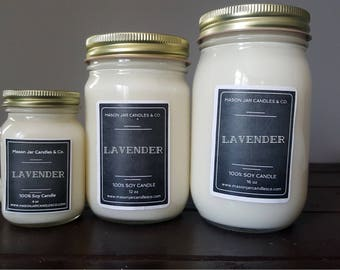 Lavender Candle, Lavender Soy Candle, Relaxing Candle, Spa Candle, Soy Candle, Spring Candle, Mason Jar Candle, Mason Jar Soy Candle