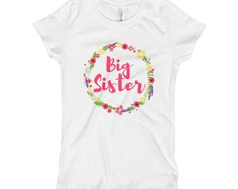 Big Sister Little Sister Sibling Pregnancy Announcement Hospital Family Girl's T-Shirt