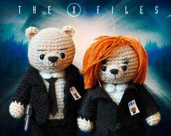 The X-Files, Knitted bear Scully Mulder toy bear Knitted teddy bear Toy bear Crochet bear Knitted teddy Knitted Toy UFO serial
