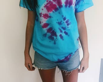 Pink and blue spiral tie dye shirt