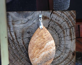 Orange Jasper Stone Pendant With Silver Plated Bail - Yellow Jasper Pendant Necklace - Jasper Pendant Jewelry - Gift For Her