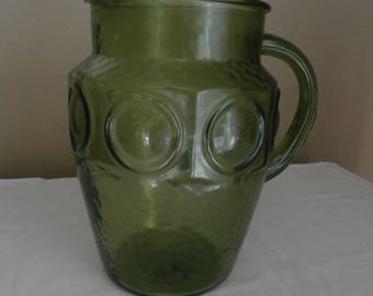 Green Vintage Glass Pitcher