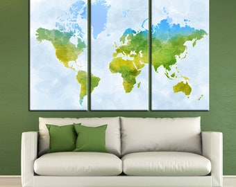 Large Watercolor World Map with state borders Colorful Canvas Panels Set ready to hang,Abstract World Map Print,Colorful Decor Canvas Print