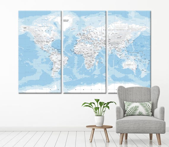 Blue and Grey Large detailed world map wall art with countries names canvas print,Extra large Physical World Map, canvas print ready to hang