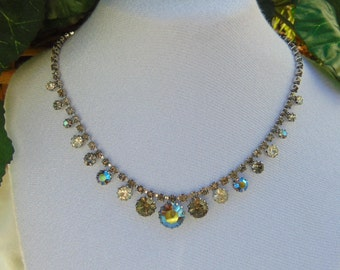 Karu Arke, Necklace, Minus 1940, Rainbow, Clear Rhinestones