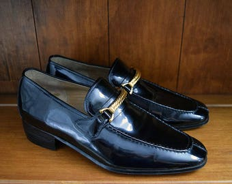Vintage Black Patent Leather Gucci Loafers - Mens Size 40