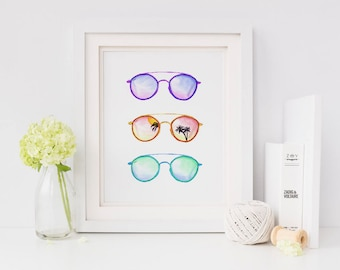 Beach Art Print, Palm tree Print, Fashion Wall Art, Beach Decor, Beach Wall Art, Nautical Decor, Beach House Decor, Sunglasses, Vanity