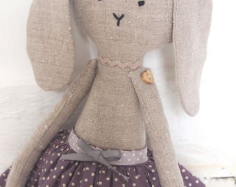 Rabbit Handmade Doll - cloth bunny, stuffed toy, stuffed animal, cloth doll, Linen Dolls , Nursery Decor, baby girl gift.