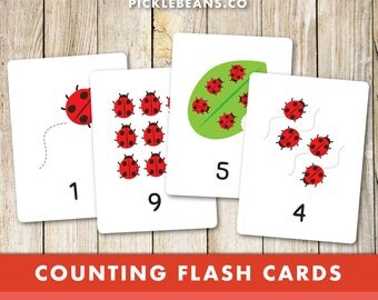 Counting Flash Cards - Preschool, Toddler, Numeracy, Numbers, Daycare, Kids, Children, Ladybugs, Ladybirds, Printable - Instant Download!