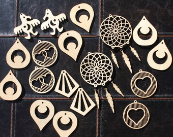 Set of 9 Laser-Cut Earring Files (Includes Adobe Illustrator, PDF, Corel Draw, SVG and DXF Files)