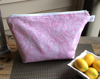 Pink And White Paisley Oversized Project Bag