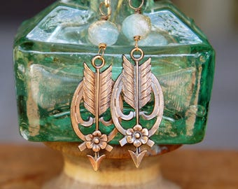 Pretty Arrow and Flower Earrings French Brass Antique Vintage Style