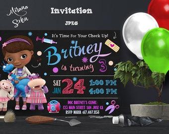 DOC MCSTUFFINS BIRTHDAY Invitation, Doc McStuffins Party Ideas, Doc McStuffins Invitation, Printable Invitation