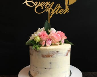 Happily Ever After Wedding Cake Topper, Couple Cake Topper, Anniversary Cake Topper
