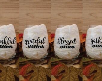 Thanksgiving Wine Glasses Set   Thanksgiving Words   Thanksgiving Decor   Holiday Wine Glasses   Thankful   Blessed   Grateful   Gather