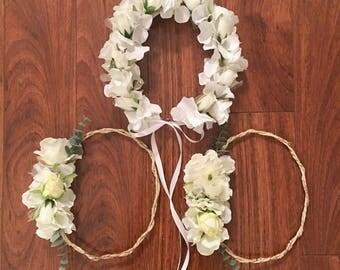 Ivory flower Crown, wedding flower crown, bridesmaids crown, pastel flower headband, bridal crown, wedding flower crown, baby flower crown