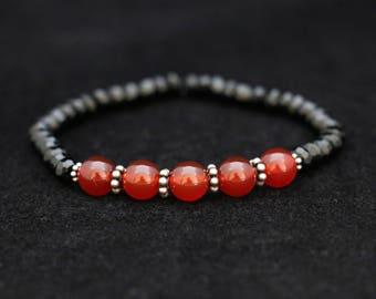 No. 24 Carnelian, Dyed Black Onyx & Sterling Silver Bracelet (Handmade)