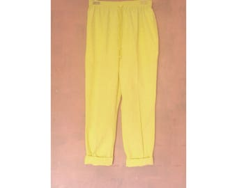 "Canary Yellow Linen Pant 28-30"" waist"