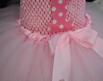 Pink First Birthday Tutu Dress, Toddler Pink Birthday Tutu Dress