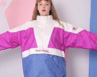 vintage windbreaker colorblock tracksuit top, frank shorter, retro nylon jacket, running jogging jacket, slouchy blue pink windbreaker