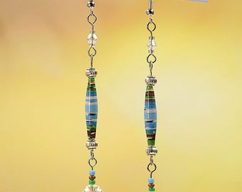 Blue Green Paper Bead Dangle Earrings #497