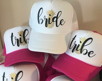 Bride Squad Hats with Pineapple / Bride Tribe Hats / Bachelorette Party / Bridal Party / Bride to Be / Bridemaids / Bridemaids Gifts