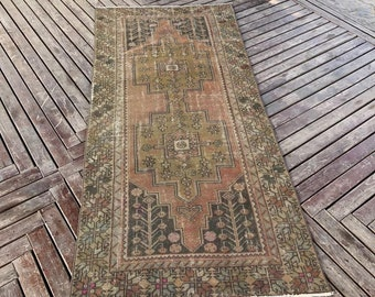 "3""9x8""2ft,Distressed oushak rug,pastel color oushak rug,vintage rug,Löw'ü pile anatolion carpet,home and ofifice rug,rugs,turkish rug."