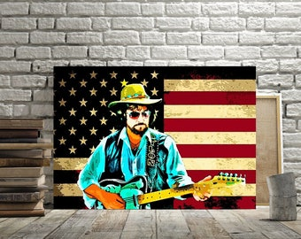 Waylon Jennings, Print or Canvas, Country Music Legend Picture, Country Music Decor, Waylon US Flag, Guitar Lover Gift, Cool Waylon Wall Art