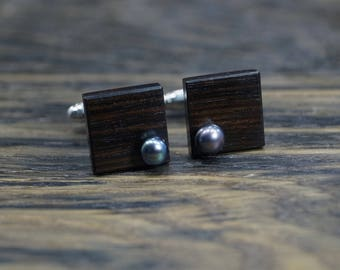 Cuff links black pearl, wood cufflinks, gift for men, accessories, wedding cufflinks, black cufflinks, wood cuff links