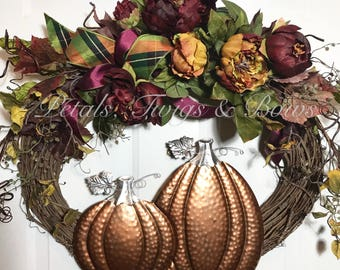 best fall wreath, best autumn wreath, fall decor, front door wreath, grapevine wreath, pumpkin wreath, front door wreath, fall wreath