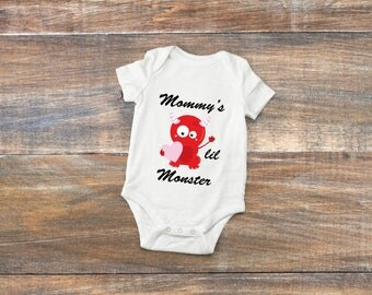 Mommy's lil Monster bodysuit, Valentines Day Outfit, Gift for mom, Cute Valentines Shirt, Mommy's valentine, gift for her, Cute shirt, humor