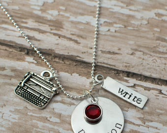 Personalized hand stamped writer's necklace - gift for author - gift for writer - writing necklace - typewriter necklace - birthstone