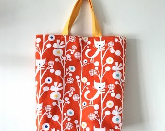 "Handmade tote bag, carry all bag for knitting project 13.75"" x 10.75"" x 3.5"""
