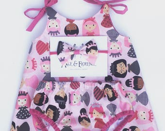 Gorgeous little dollies baby girl set dress nappy cover bloomers and headpiece in pink